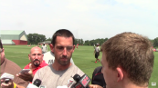 Kyle Shanahan talks to media