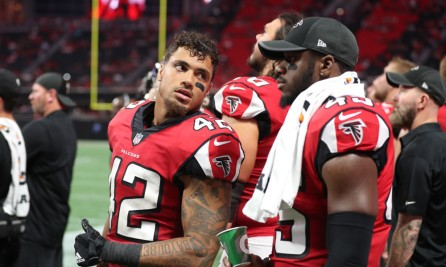 Aug 26, 2017; Atlanta, GA, USA; Atlanta Falcons outside linebacker Duke Riley (42) talks with middle linebacker Deion Jones (45) in the fourth quarter of their game against the Arizona Cardinals at Mercedes-Benz Stadium. Mandatory Credit: Jason Getz-USA TODAY Sports